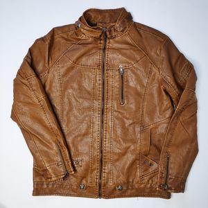 Men's Faux Leather Jacket Zippered Closure Size XL